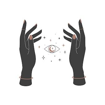女性の手の間の神秘的な天体の輝く目難解な魔法ベクトルイラスト