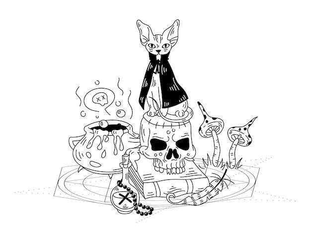 마녀의 고양이와 해골이 있는 신비로운 구성. 벡터 손으로 그린 낙서 그림