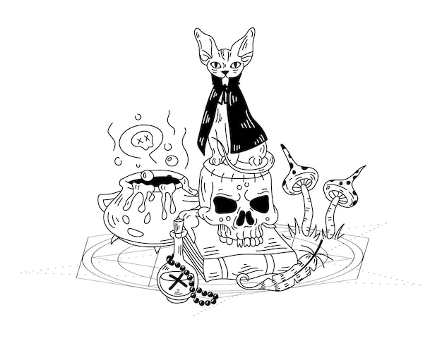 Mystical composition with a witch's cat and a skull. vector hand drawn doodle illustration