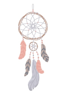Mystical dreamcatcher with feathers