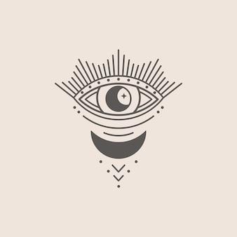 Мистический глаз и значок луны в трендовом минимальном линейном стиле. векторная изотерическая иллюстрация для принтов на футболках, постеров в стиле бохо, обложек, логотипов и татуировок.