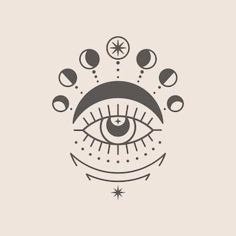 최신 유행하는 최소 선형 스타일의 신비로운 눈과 달 아이콘. t-셔츠 인쇄, boho 포스터, 표지, 로고 디자인 및 문신을 위한 벡터 isoteric 그림.