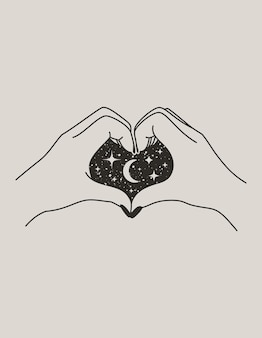 Mystical female hand heart with moon and stars in trendy boho style. vector palm icon for wall print, t-shirt, tattoo design, for social media post and stories