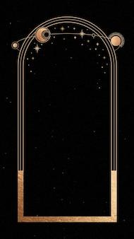Cornice d'oro mistica su sfondo nero per cellulare