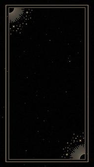 黒の背景の携帯電話の壁紙に神秘的なゴールドフレーム