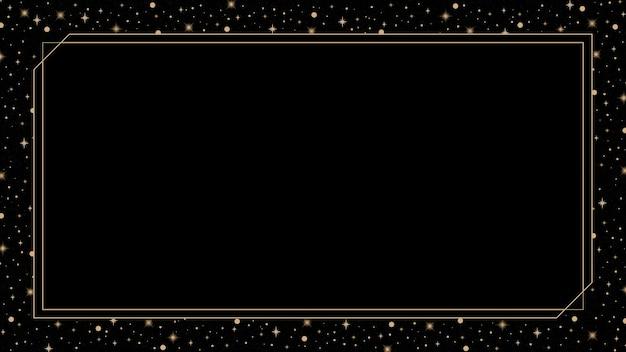 Cornice dorata mistica su sfondo nero vettore