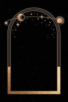 Мистическая золотая рамка на черном фоне