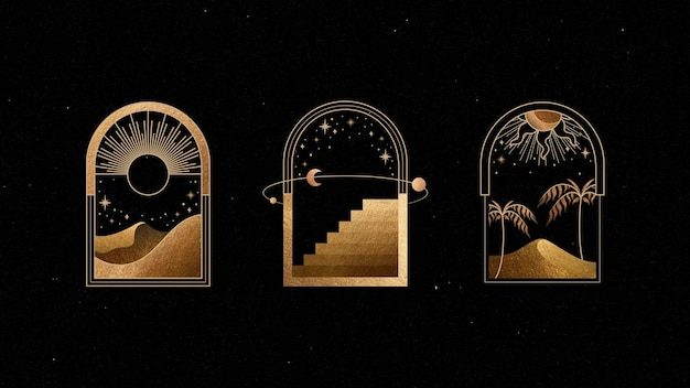 Набор мистических золотых рамок на черном фоне