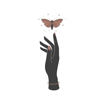 Mystical heavenly night butterfly over woman hand. spiritual  moth for logo name branding.