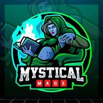 신비로운 마법사 마스코트. esport 로고 디자인