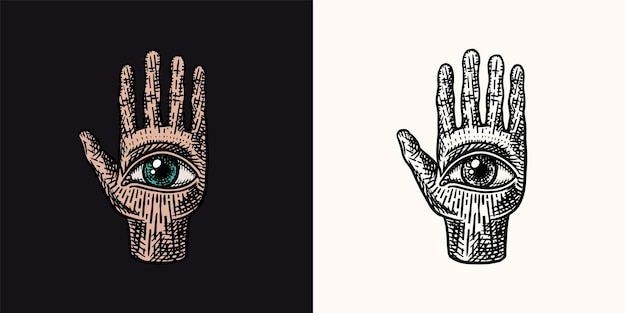 Mystical magic palmistry esoteric or alchemy occult sketch for tattoo fate in the palm of your hand