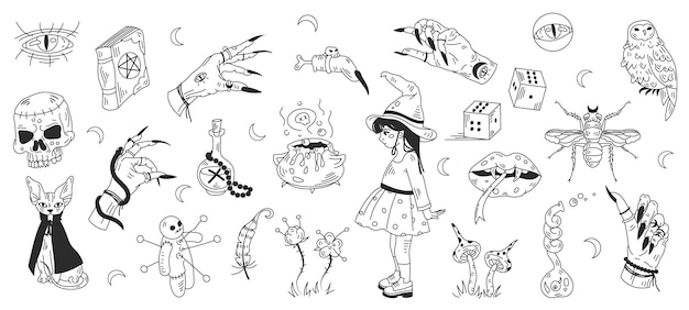 신비로운 마법의 마법 요소 할로윈 장식 낙서 라인 아트 아이콘의 큰 컬렉션