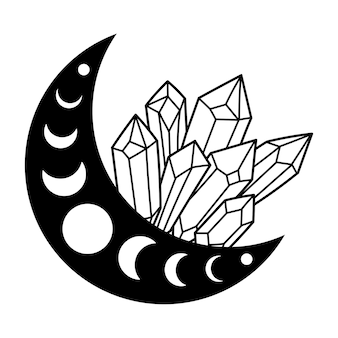 크리스탈이 있는 신비로운 달 달의 위상 마법의 크리스탈 신비롭고 마법의 그림