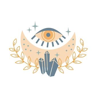 크리스탈, 별, 눈, 흰색 배경에 고립 된 잎을 가진 신비로운 달. 신비하고 마법의 점성술 벡터 일러스트 레이 션. 티셔츠, 가방, 카드, 포스터, 초대장 디자인