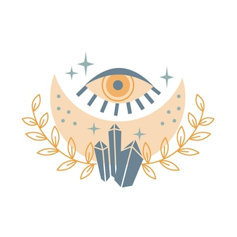 Mystical moon with crystal, stars, eye, leaves isolated on white background. mystical and magical, astrology vector illustration. design for t-shirts,  bags, card, poster, invitation