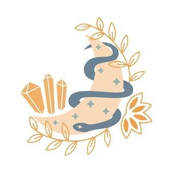 크리스탈, 별, 뱀, 흰색 배경에 고립 된 잎과 신비로운 달. 신비하고 마법의 점성술 벡터 일러스트 레이 션. 티셔츠, 가방, 카드, 포스터, 초대장 디자인