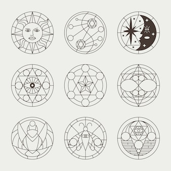 神秘的なオカルトの入れ墨、魔術の輪、聖なるサイン、要素とシンボル。ベクトル幾何学的な魔法のアイコンセット分離