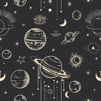 Мистическая сакральная иллюстрация в стиле ретро-гравюры