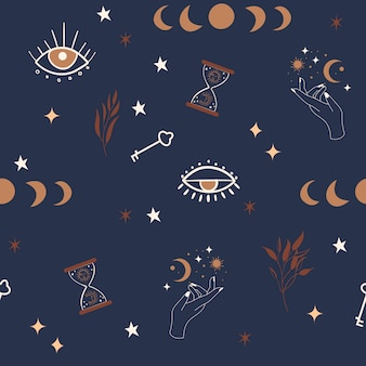 Mystical seamless pattern with moon phases, eyes, stars and botanical elements.