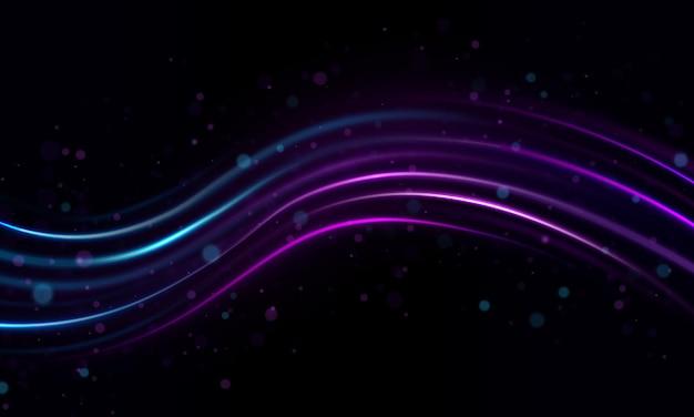 神秘的な輝きの筋。グリント宇宙線。ネオン風ライン。グロー効果。グレアスプラッシュ。