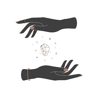 女性の手の間の神秘的な輝くクリスタル。ブランド名のロゴの精神的なシックなシンボル。難解な天体のベクトル図