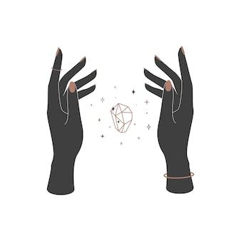 女性の手の間の神秘的な輝くクリスタル。ブランド名のロゴの精神的なエレガントなシンボル。難解な天体のベクトル図 Premiumベクター
