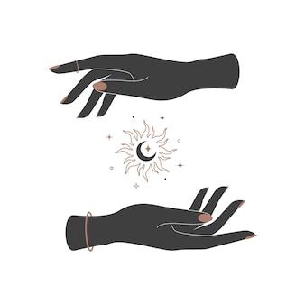 神秘的な輝く輪郭の太陽と女性の手の間の三日月。難解な天体のイラスト
