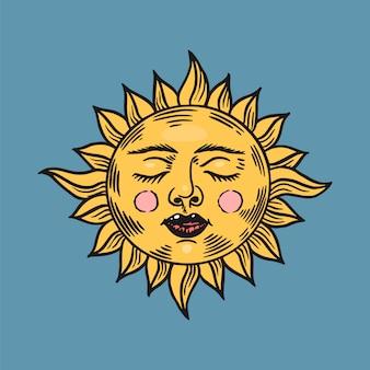 神秘的な眠っている太陽。天文学、錬金術、占星術のシンボル。魔法のジプシー