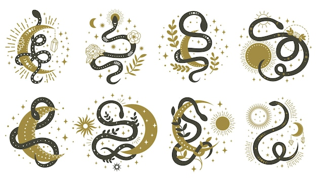 Mystical snakes. floral boho and astrology minimalist elements with wriggling snakes illustration set