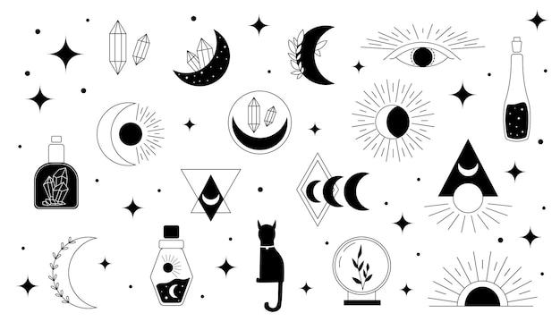 Mystical symbols. line esoteric, boho mystical hand drawn elements