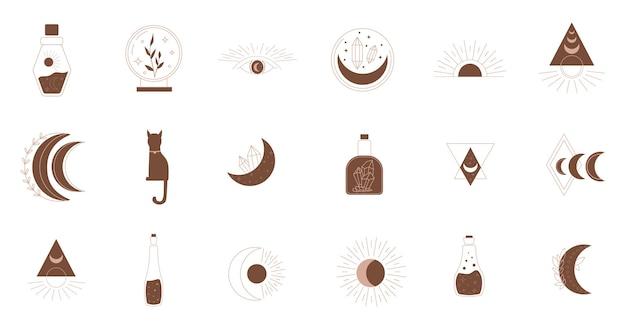 神秘的なシンボル。線の秘教、自由奔放に生きる神秘的な手描きの要素