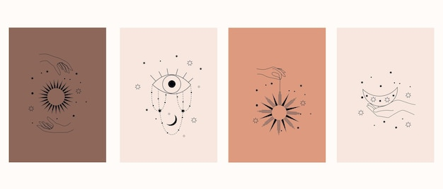 Mystical symbols with hands, eyes, sun and moon. collection of magic posters