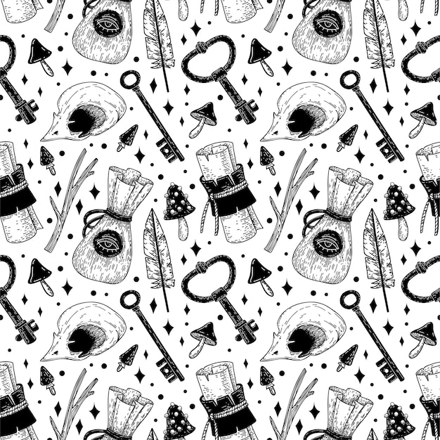 Mystical vector seamless pattern with hand-drawn magical and occult illustrations.