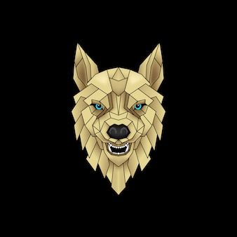 Mystical wolf in black and gold