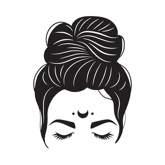 Mystical woman messy bun and moon. woman silhouette with hair and long eyelashes