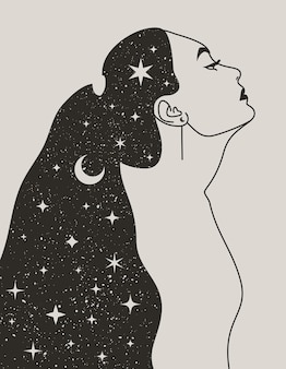 Mystical woman with the moon and the stars in hair in a trendy boho style. vector space portrait of a girl