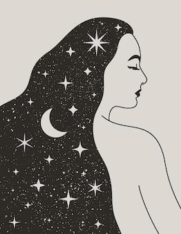 트렌디한 boho 스타일에 그녀의 머리에 달과 별을 가진 신비로운 여자. 소셜 미디어 게시물 및 이야기를 위한 벽 인쇄, 티셔츠, 문신 디자인을 위한 소녀의 벡터 공간 초상화