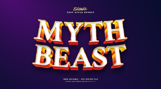 Стиль текста myth beast в белом и оранжевом цветах с эффектом трехмерного тиснения. редактируемый эффект стиля текста