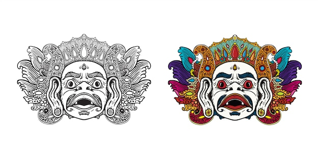 Mythical balinese mask art illustration