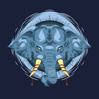 Mythical blue elephant illustration with chained skull ivory and dead forest around the head