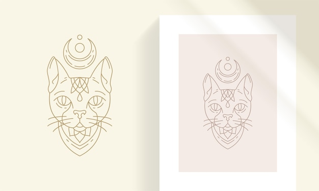 Mythical cat head silhouette linear illustration