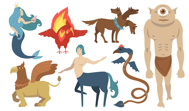Mythical creatures characters set. flying lion, cyclops, griffin, centaur, mermaid, cerberus. for greek mythology, fantasy, legend, culture, literature