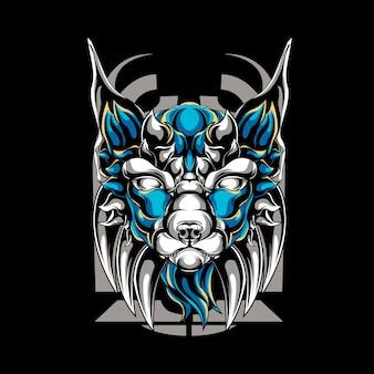 Mythical dog mascot logo illustration