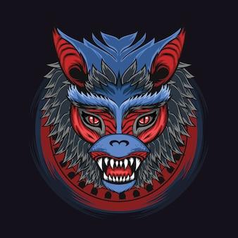 鋭い歯と暗いイラストに青い毛皮の怖い赤い目の神話的な巨大なバットヘッド