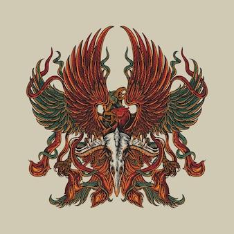Мифический феникс с орлом
