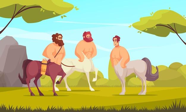 Mythical three centaurs in meadow flat cartoon
