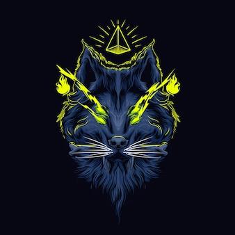 Мифический волк темное искусство иллюстрация