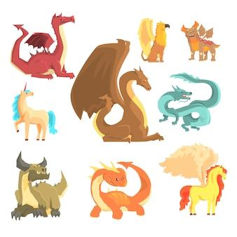 に設定された神話上の動物。ドラゴン、ユニコーン、ペガサス、グリフィン、漫画の詳細なイラスト