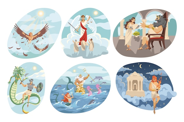 Mythological religious ancient greek series of flying