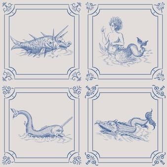 Мифологический старинный морской монстр на голубой голландской плитке.